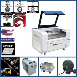 Basic Package - 36 x 24 inches CAMFive Laser Up-Down Compact CO2 Cutter & Engraver CMA3624K Cutting and Engraving Machine for Hobby, Small Business, and Home Use