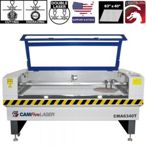 63 x 40 inches CAMFive Laser CO2 Double Tube Cutter & Engraver CMA6340T Cutting and Engraving Machine for Wood, Acrylic, Fabric, etc