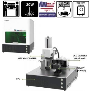 20W Source Portable CAMFive Laser Fiber Engraver Model FM20PC, Engraving and Marking Machine for Hobby  and Home Use, Engrave Metal, Aluminum, etc