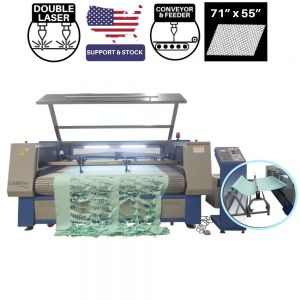 CAMFive Laser Automatic Conveyor Bed and Roll Feeder CO2 Cutter Model CMA7155TF Working Area 71x55'' Cutting Machine for Fabric, Leather and more