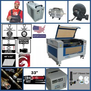 Full Package - CAMFive Laser Up-Down System CO2 Cutter & Engraver CMA4032K Working Area 40x32'' Cutting and Engraving Machine for Wood Acrylic