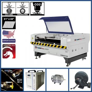 Basic Package - 51 x 36 inches CAMFive Laser Co2 Tube Cutter Engraver CMA5136 Machine For Cutting And Engraving Wood Acrylic Fabric and More