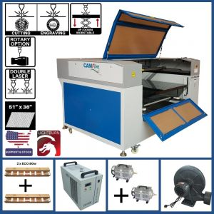 BASIC PACKAGE - CAMFive Laser Up-Down System and Double CO2 Tube Head Cutter & Engraver CMA5136KT Working Area 51x36