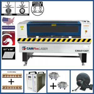 Basic Package - 51 x 36 inches CAMFive Laser CO2 Double Tube Cutter & Engraver CMA5136T Machine for Cutting and Engraving Wood, Acrylic, Fabric and more