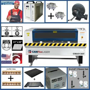 Full Package - 51 x 36 inches CAMFive Laser CO2 Double Tube Cutter & Engraver CMA5136T Machine for Cutting and Engraving Wood, Acrylic, Fabric and more