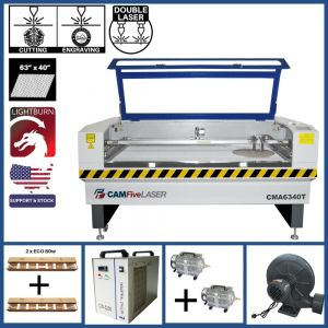 Basic Package - 63 x 40 inches CAMFive Laser CO2 Double Tube Cutter & Engraver CMA6340T Machine for Cutting and Engraving Wood, Acrylic, Fabric and more