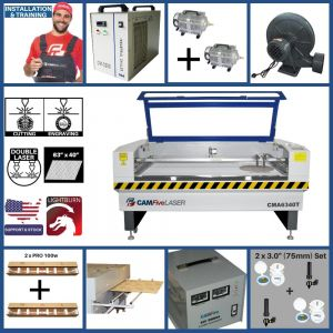 Full Package - 63 x 40 inches CAMFive Laser CO2 Double Tube Cutter & Engraver CMA6340T Machine for Cutting and Engraving Wood, Acrylic, Fabric and more