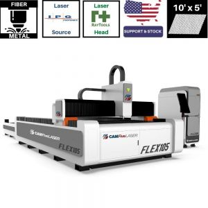 10 x 5 ft Auto Sheet Exchange 1000w to 6000w IPG Source CAMFive Laser Fiber Metal Cutter FLEX105