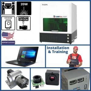 DEAL - 20W Portable CAMFive Laser Fiber Engraver Model FM20PC, Engraving and Marking Machine for Hobby  and Home Use, Engrave Metal, Aluminum, etc - Full Package
