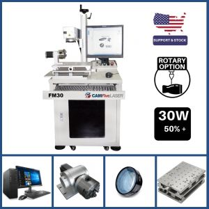 DEAL - 30W to 50W CAMFive Laser Industrial Fiber Engraver Model FM30, Galvo Engraving and Marking Machine for Metal, Aluminum bottle, etc - Basic Package