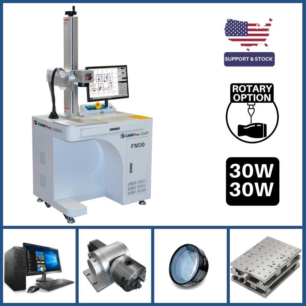 DEAL - 30W CAMFive Laser Industrial Fiber Engraver Model FM30, Galvo Engraving and Marking Machine for Metal, Aluminum bottle, etc - Basic Package