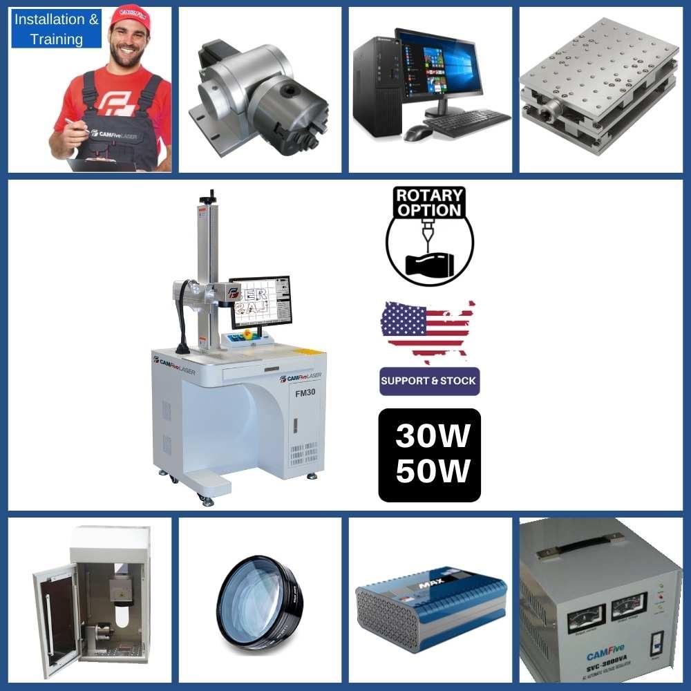 DEAL - 30W CAMFive Laser Industrial Fiber Engraver Model FM30, Galvo Engraving and Marking Machine for Metal, Aluminum bottle, etc - Full Package