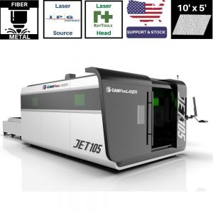10 x 5 ft Fully Enclosure & Auto Sheet Exchange 1000w to 6000w IPG CAMFive Laser Fiber Metal Cutter JET105
