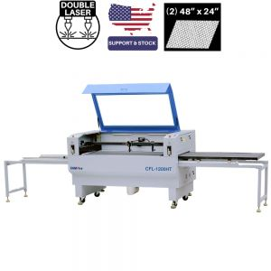CAMFive Laser Double Automatic Worktable and Double CO2 Tube Cutter & Engraver CMA4824HT Working Area 48x24'' Machine for Cutting and Engraving Fabric leather and more