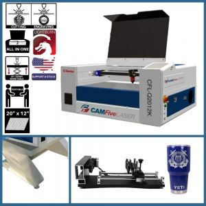 Basic Package - 20 x 12 inches 40w CAMFive Laser CO2 Cutter & Engraver Model Q2012K Cutting and Engraving Machine for Hobby and Home Use, Wood and more