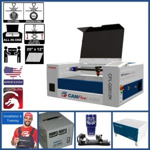 Full Package - 20 x 12 inches 40w CAMFive Laser CO2 Rotary System included Cutter & Engraver Q2012K Cutting and Engraving Machine for Hobby and Home Use, Wood and more