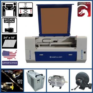 Basic Package - 24 x 16 inches Desktop CAMFive Laser Up-Down CO2 Cutter & Engraver Q2416K Cutting and Engraving Machine for Hobby, Small Business, and Home Use