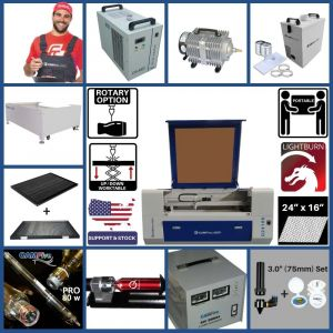 Full Package - 24 x 16 inches Desktop CAMFive Laser Up-Down CO2 Cutter & Engraver Q2416K Cutting and Engraving Machine for Hobby, Small Business, and Home Use