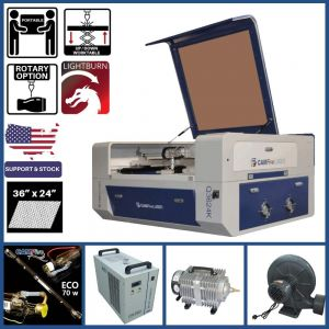 Basic Package - 36 x 24 inches Desktop CAMFive Laser Up-Down CO2 Cutter & Engraver Q3624K Cutting and Engraving Machine for Hobby, Small Business, and Home Use